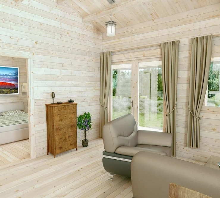 one bed log cabin
