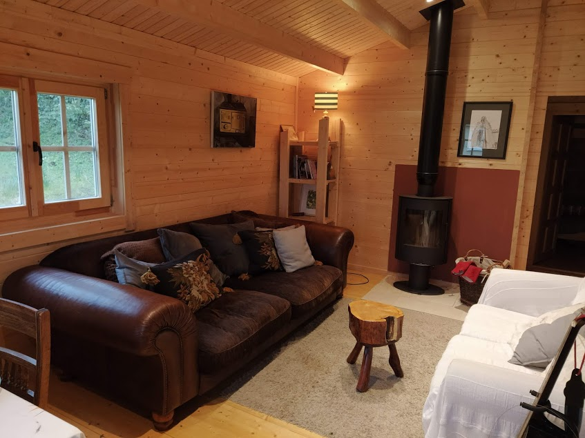 Cosy log cabin show house interior